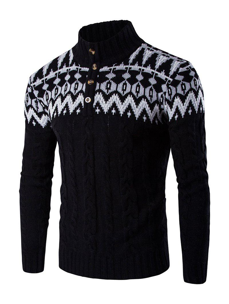 Stand Collar Geometric Design Sweater CoatMEN<br><br>Size: L; Color: BLACK; Type: Pullovers; Material: Cotton Blends; Sleeve Length: Full; Collar: Turn-down Collar; Style: Casual; Weight: 0.446kg; Package Contents: 1 x Sweater;