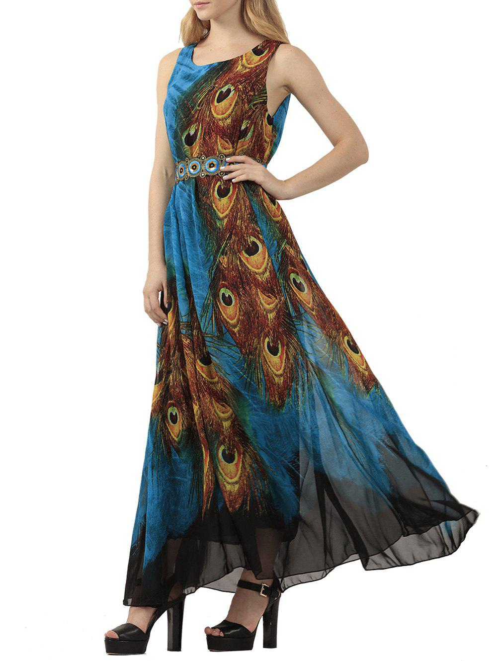 Bohemian Tie-Dye Peacock Leather Print Maxi DressWOMEN<br><br>Size: XL; Color: PEACOCK BLUE; Style: Bohemian; Material: Polyester; Fabric Type: Chiffon; Silhouette: Beach; Dresses Length: Floor-Length; Neckline: Scoop Neck; Sleeve Length: Sleeveless; Pattern Type: Print; With Belt: No; Season: Spring,Summer; Weight: 0.378kg; Package Contents: 1 x Dress;