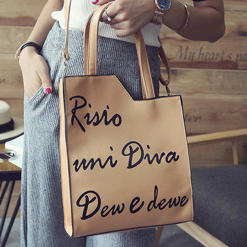 Shops PU Leather Letter Print Magnetic Closure Shoulder Bag