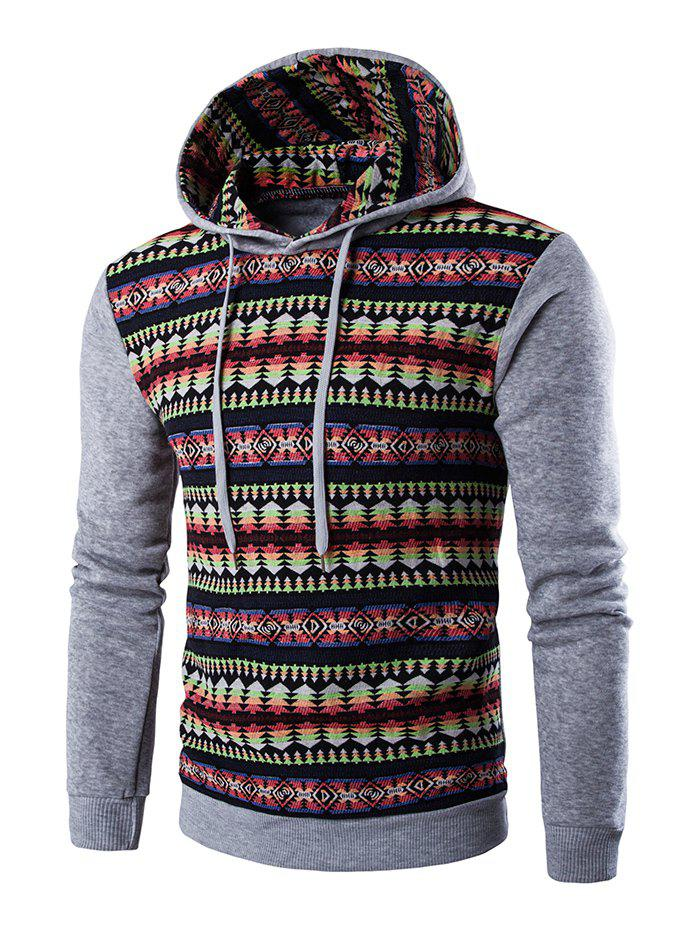 Chic Ethnic Style Stripe Printed Hoodie