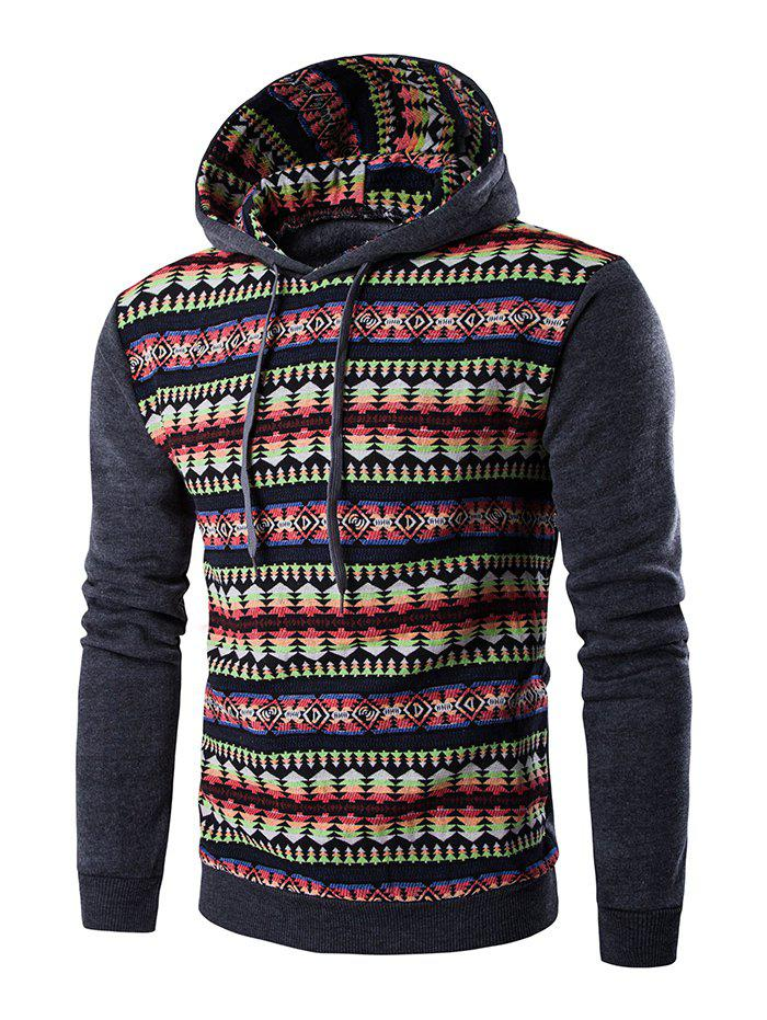Cheap Ethnic Style Stripe Printed Hoodie