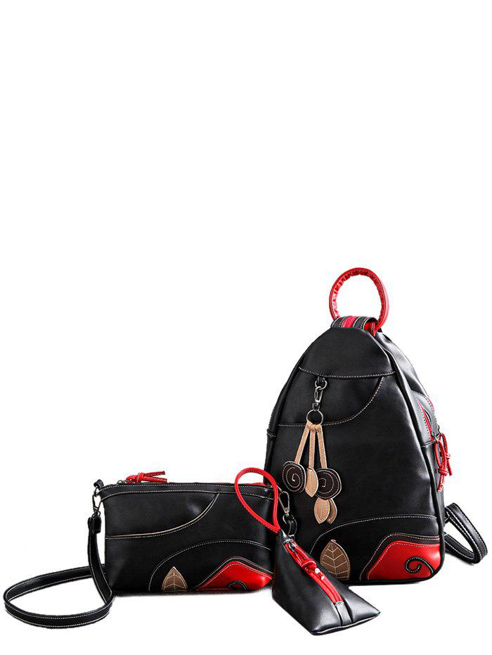 Latest Knots PU Leather Leaf Pattern Backpack