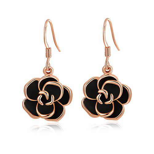 Pair of Alloy Rose Shape Drop EarringsJEWELRY<br><br>Color: GOLDEN; Earring Type: Drop Earrings; Gender: For Women; Style: Fresh Style; Shape/Pattern: Floral; Weight: 0.029kg; Package Contents: 1 x Earring (Pair);
