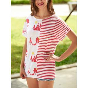 Striped Tree Printed Short Sleeve T-Shirt
