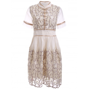 Retro Mandarin Collar Hand  Embroidered Floral Dress - Light Apricot - L