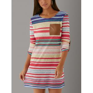 Long Sleeve Striped Color Block Shift Mini Dress - Colormix - Xl