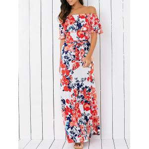 Off-The-Shoulder Floral Overlay Maxi Dress - Orangepink - S