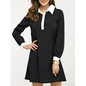 Long Sleeve Splicing Buttoned Contrast Color Dress - Black - S