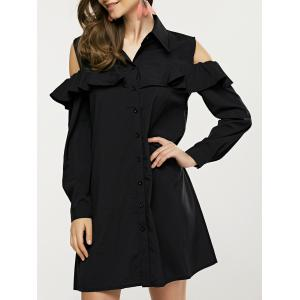 Flounce Cold Shoulder Shirt Dress