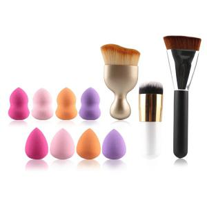 8 Pcs Dual-Use Dry and Wet Makeup Sponge + S-Shape Blush Brush + Foundation Brush + Contour Brush - Colormix