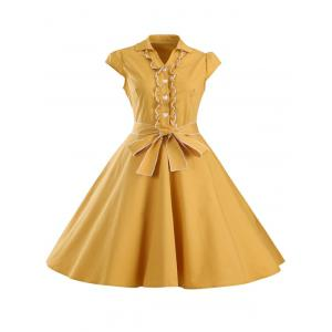 Retro Jabot Ruffle Cape Sleeve Button Flare Dress
