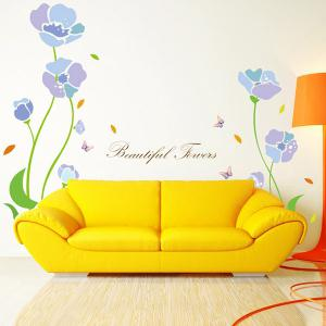 Home Decor Flower Plant Cabinet Window Removable Wall Sticker - Light Purple - 50*70cm