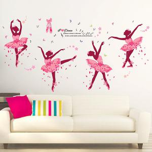 DIY Ballet Girl Removable Vinyl Wall Sticker For Kids Room - Colormix - 150