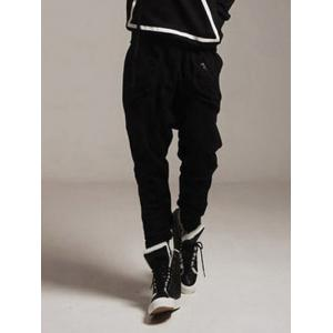 Drawstring Zippered Drop Crotch Narrow Feet Baggy Pants