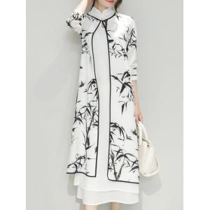Bamboo Print Side Slit Mandarin Collar Cheongsam Dress Twinset