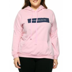 Plus Size Hooded Long Sleeve Letter Hoodie - Pink - 4xl