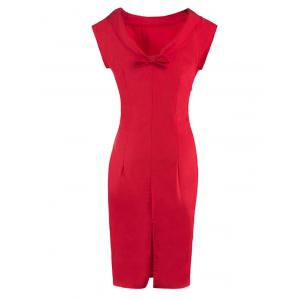 Bowknot Embellished Furcal Skinny Dress