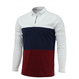 Long Sleeve Color Block Letter Printed Polo Shirt - White - M