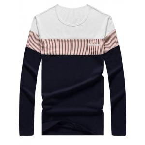 Brief Color Blocks Spliced Round Neck Long Sleeve Tee For Men