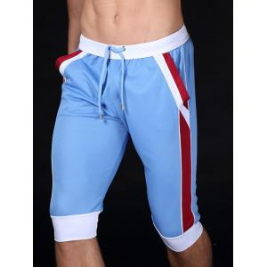 Lace-Up Color Block Splicing Design Sport Cropped Joggers - Azure - S