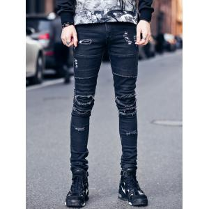 Zipper Fly Frayed Knee Patches Skinny Ripped Jeans - Black - L