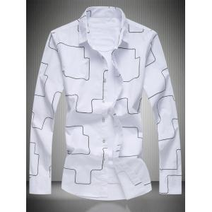 Geometric Pattern Turn-Down Collar Long Sleeve Shirt