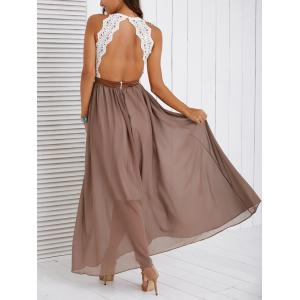 Fashionable Lace Spliced Backless Maxi Dress -