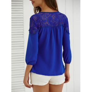 Tie Hollow Out Lace Splicing Blouse -
