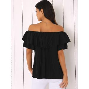 Off The Shoulder Loose-Fitting Flounce Blouse - BLACK ONE SIZE