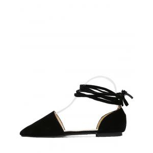 Flock Tie Up Pointed Toe Flat Shoes - BLACK 39