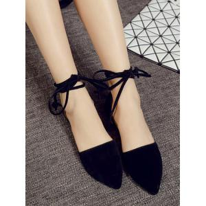 Flock Tie Up Pointed Toe Flat Shoes - BLACK 37
