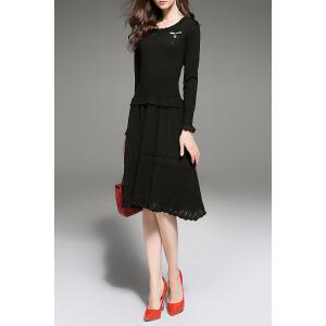 Ruffles Tiered Knitted Dress - BLACK S