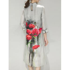 Retro Mandarin Collar Floral Painting Side Slit Cheongsam Dress -