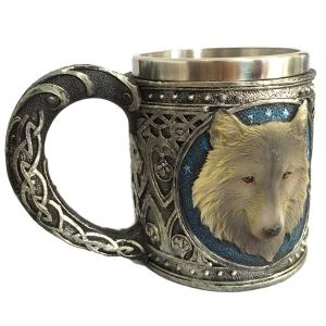 450ml Personalized Double Wall Stainless Steel 3D Wolf Head Mug -