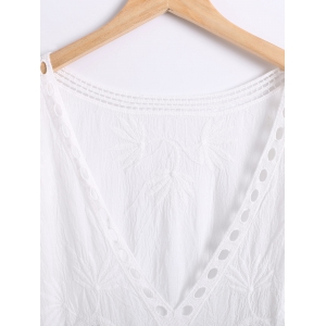 Wave Cut Crochet Openwork Blouse - WHITE ONE SIZE