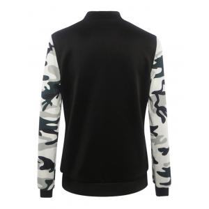 Camouflage Pattern Splicing Zippered Jacket -