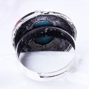 Retro Style Embossed Oval Fuax Turquoise Ring -