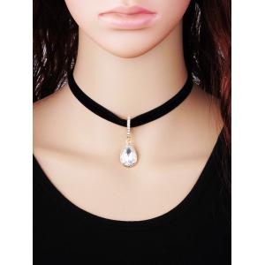 Faux Crystal Water Drop Choker Necklace -