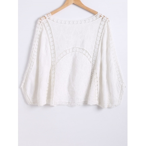 Crochet-Trim Loose Batwing Sleeves Blouse - WHITE M