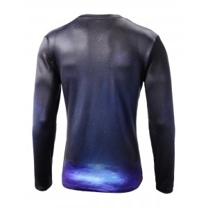 Round Neck Starry Sky 3D Deer Print Long Sleeve T-Shirt -