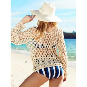 Long Sleeve See Through Crochet Cover-Up - BEIGE ONE SIZE