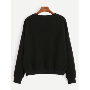 Loose-Fitting Finger Print Black Sweatshirt -