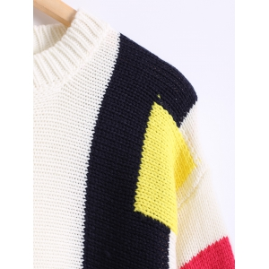 Color Block Loose-Fitting Long Sweater -