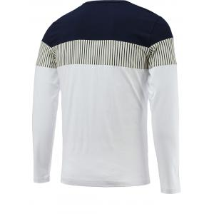 Brief Color Blocks Spliced Round Neck Long Sleeve Tee For Men - WHITE 3XL