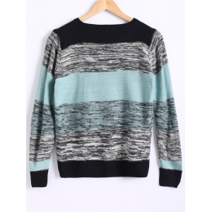 Loose Color Block Heathered Sweater -