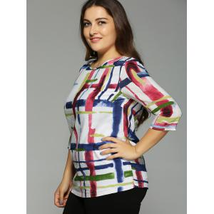 Oversized Fashion Abstract Geometric Painting Blouse -
