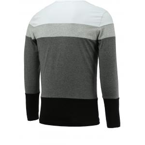 Brief Color Blocks Round Neck Long Sleeve Tee For Men - WHITE 3XL