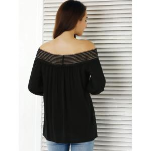 Off The Shoulder 3/4 Sleeve Blouse - BLACK S