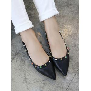 Pointed Toe Bead Rivet Flat Shoes -