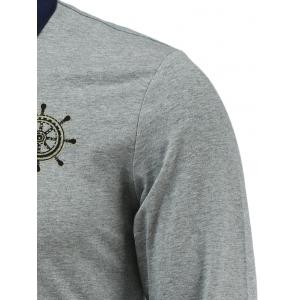 Chic Helm Embellished Polo Collar Long Sleeve Tee For Men - GRAY 3XL